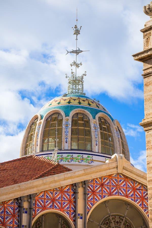巴伦西亚梅尔卡多主要市场室外圆顶西班牙 库存照片