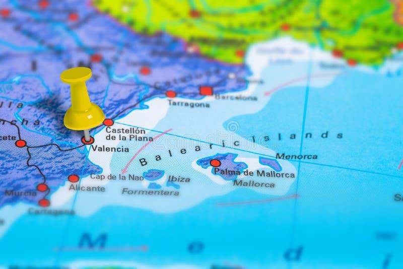 巴伦西亚西班牙地图 库存照片