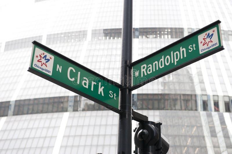 伦道夫St和克拉克标志 免版税库存图片