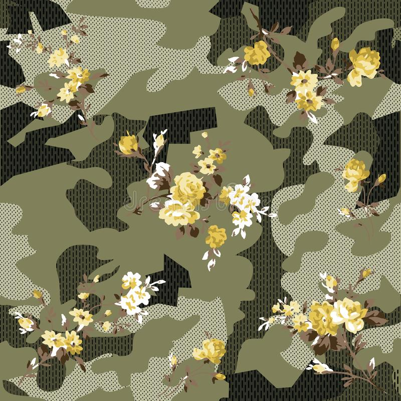 伪装和花纹花样在花 向量例证
