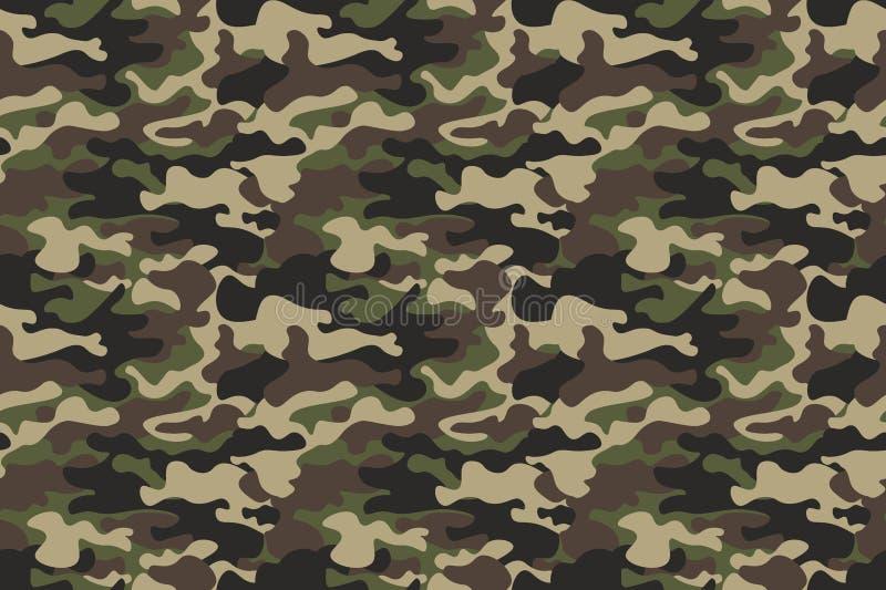 伪装无缝的样式背景 水平的无缝的横幅 经典衣物样式掩没的camo重复印刷品 绿色褐色