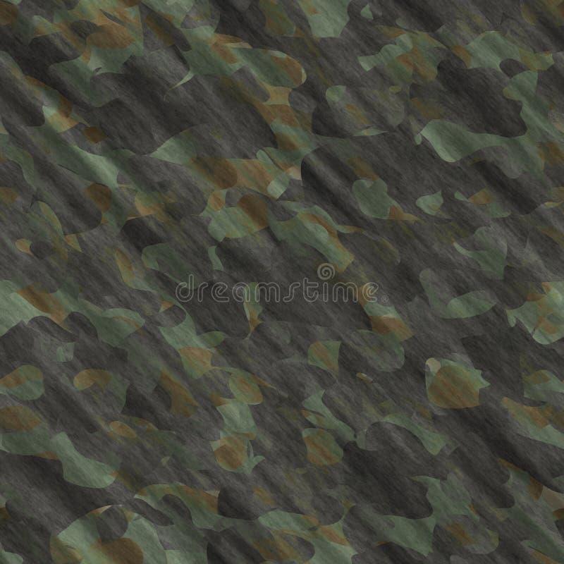 伪装样式背景无缝的例证 经典衣物样式掩没的camo重复印刷品 绿色棕色黑橄榄col 向量例证