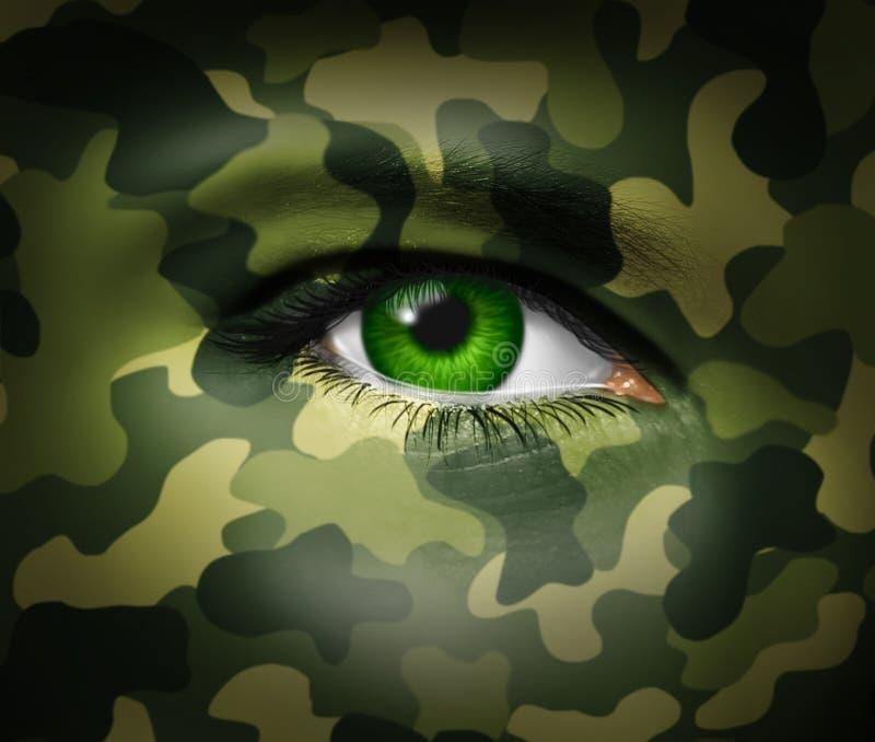 伪装眼睛军人 库存例证
