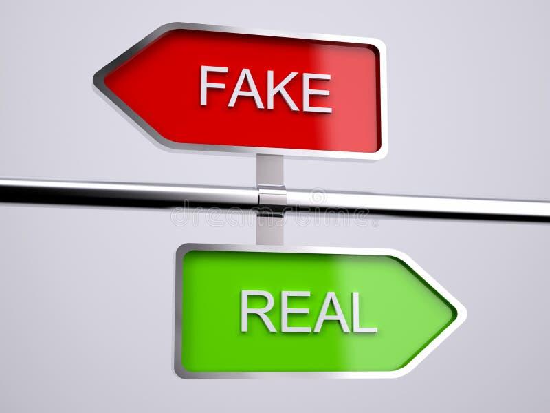 伪造品对真正的标志 向量例证