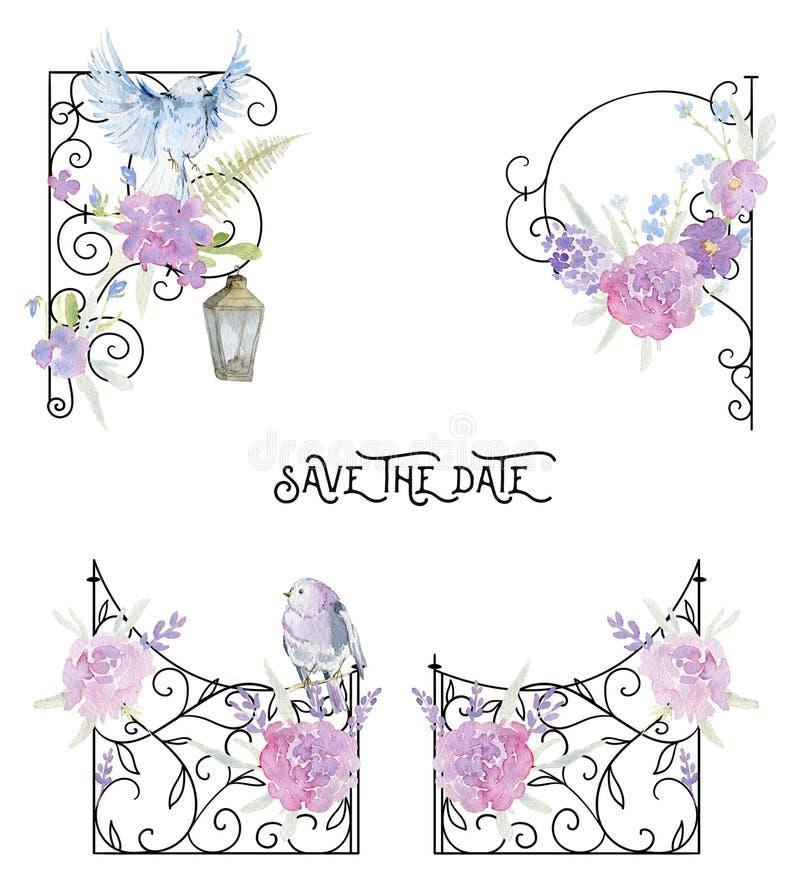 伪造的篱芭和壁角边界与桃红色玫瑰、叶子、鸟和蕨 葡萄酒巴洛克式的装饰品和浪漫庭院花 库存例证