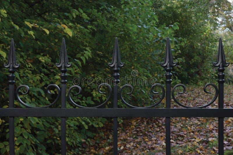 伪造的黑装饰锻铁篱芭特写镜头,秋季树背景,下落的叶子,水平的大秋天公园 免版税库存图片