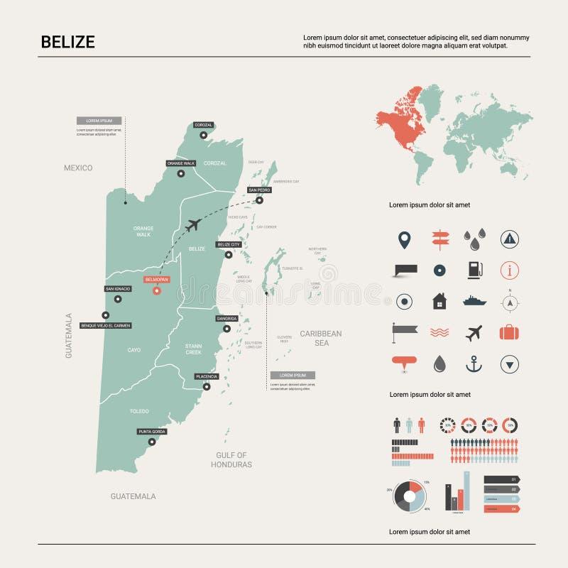 伯利兹传染媒介地图  与分裂、城市和资本贝尔墨邦的高详细的国家地图 政治地图,世界地图, 库存例证