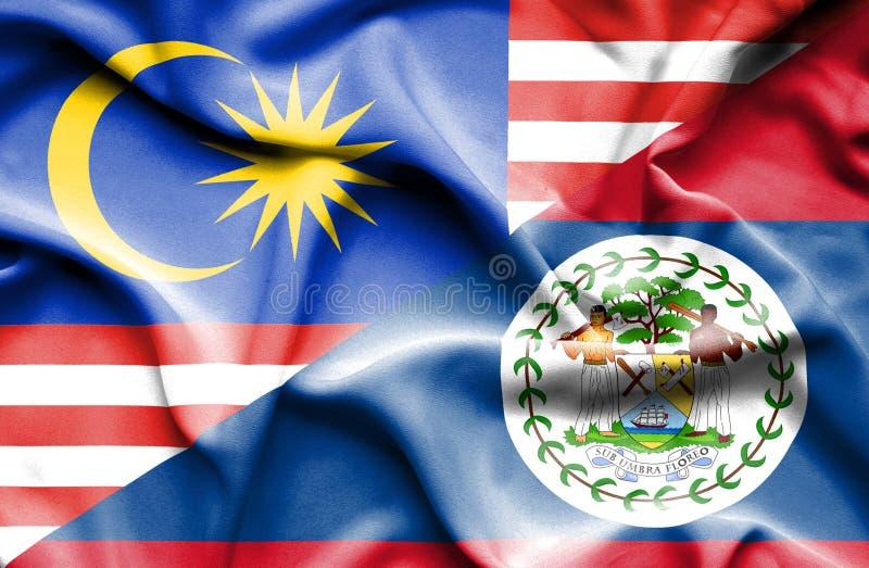 伯利兹和马来西亚的挥动的旗子 皇族释放例证