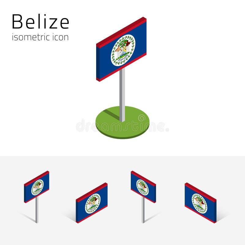 伯利兹旗子,套3D等量象 库存例证