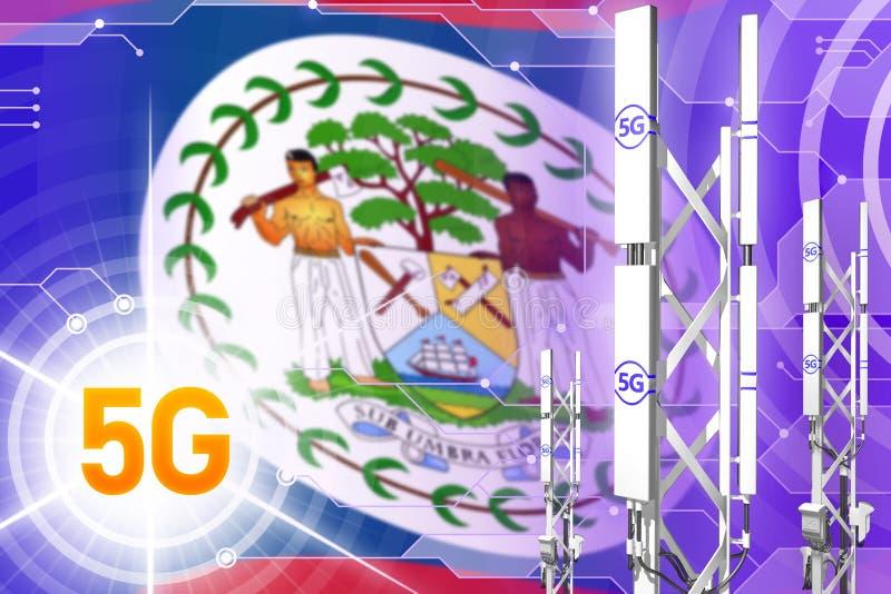 伯利兹5G工业例证、大多孔的网络帆柱或者塔在高科技背景与旗子- 3D例证 库存照片