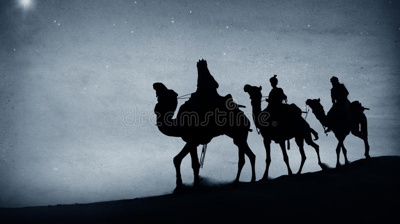 伯利恒诞生概念的三国王Desert Star 库存照片