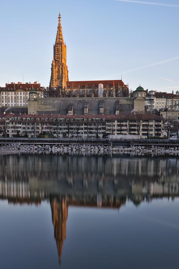 伯尔尼大教堂(曼斯特)在老镇伯尔尼,瑞士的首都 免版税库存图片