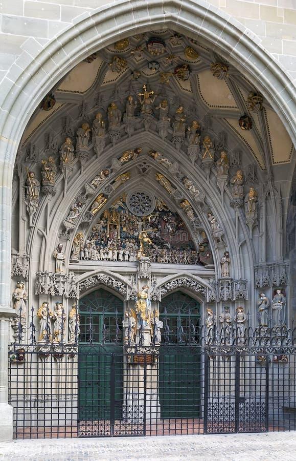 伯尔尼大教堂主要门户  库存照片