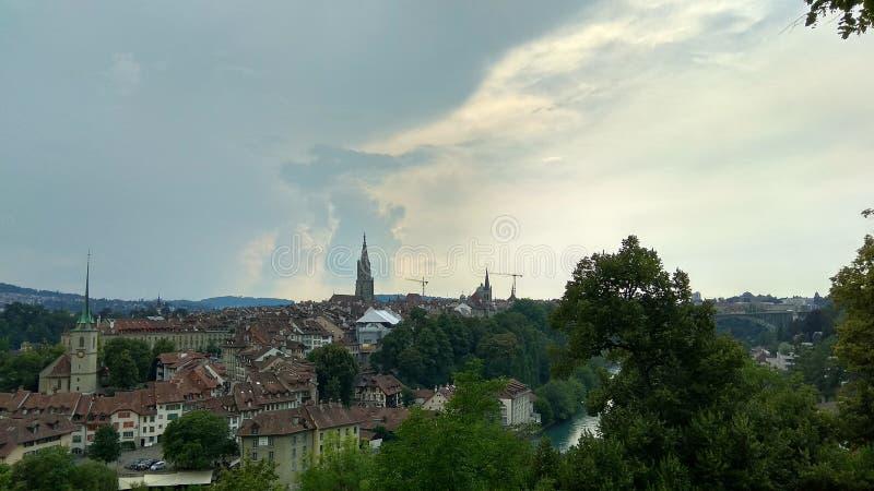 伯尔尼,瑞士全景照片  库存图片