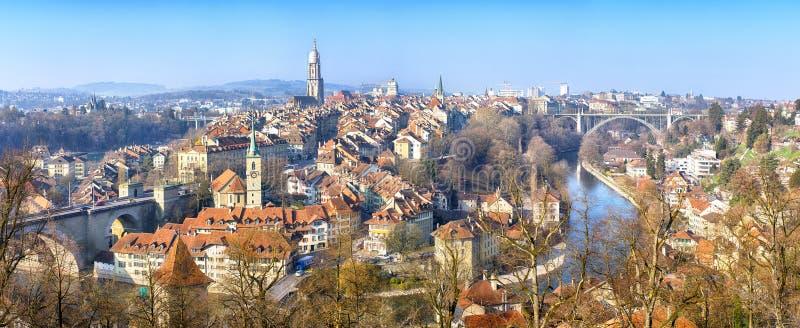 伯尔尼,瑞士全景  免版税图库摄影