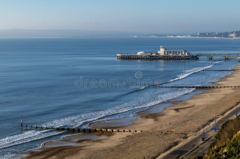 伯恩茅斯码头和海岸线,英国,英国美丽的景色  免版税库存图片
