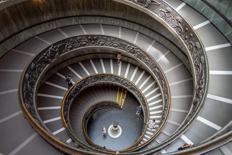 伯拉孟特楼梯在梵蒂冈博物馆在梵蒂冈 免版税库存照片