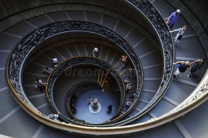 伯拉孟特螺旋形楼梯,梵蒂冈博物馆,梵蒂冈,意大利 免版税图库摄影