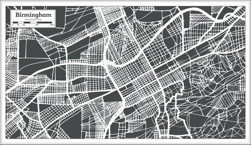 伯明翰阿拉巴马美国在减速火箭的样式的市地图 黑白向量例证 皇族释放例证