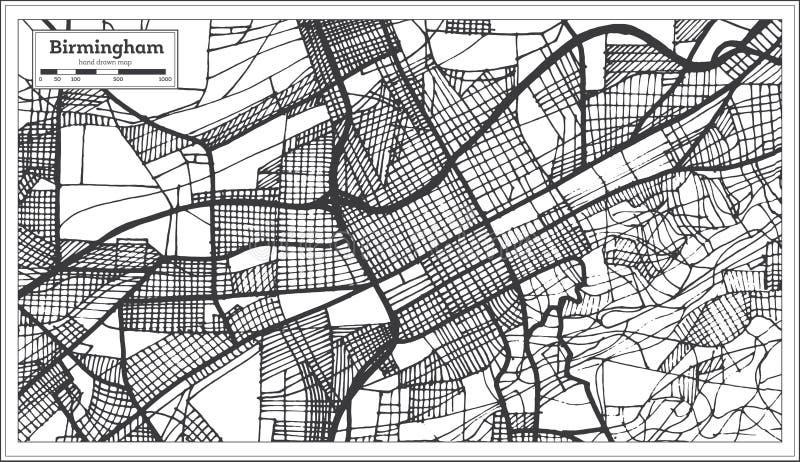 伯明翰阿拉巴马美国在减速火箭的样式的市地图 黑白向量例证 库存例证
