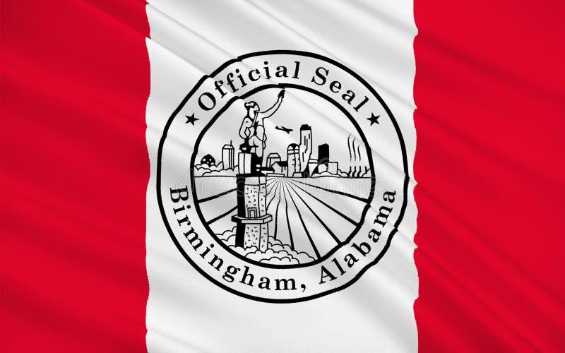 伯明翰,阿拉巴马,美国旗子  皇族释放例证