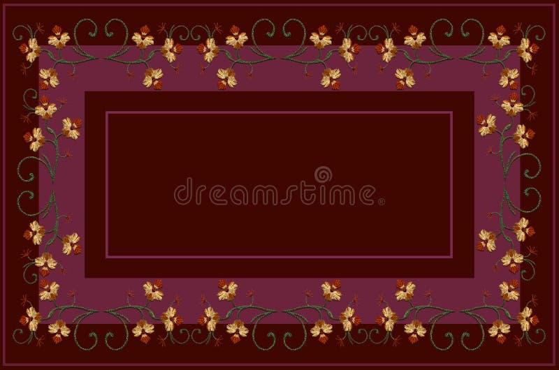 伯根地的样式遮蔽与被绣的curlicues和分支的桌布,与橙色花和弯曲的叶子 库存例证