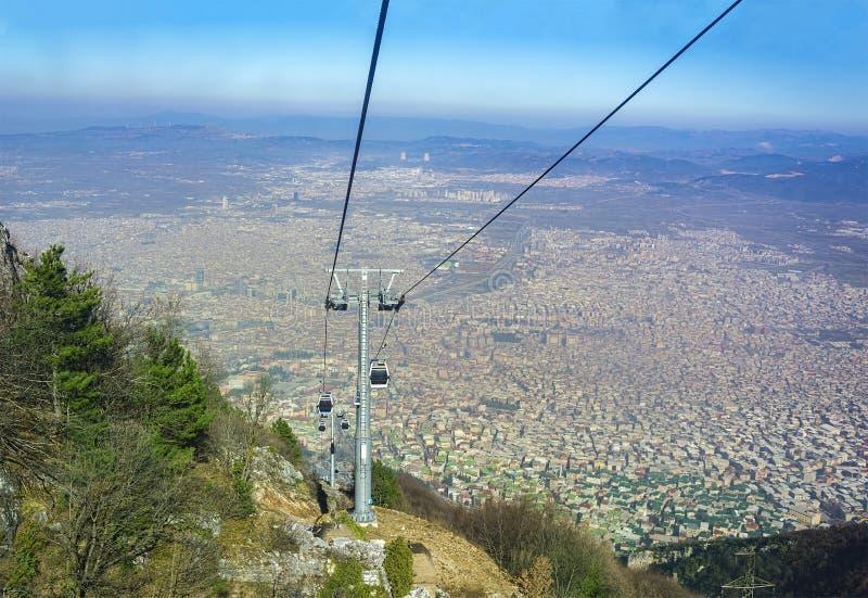 伯萨, Uludag缆车和城市图象 伯萨/土耳其 免版税库存照片
