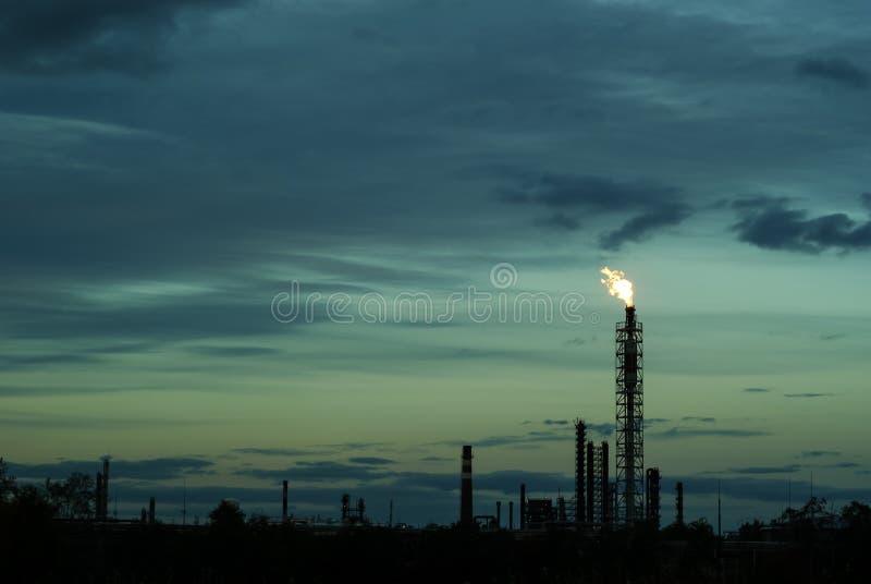 伴生的石油气体燃烧 图库摄影