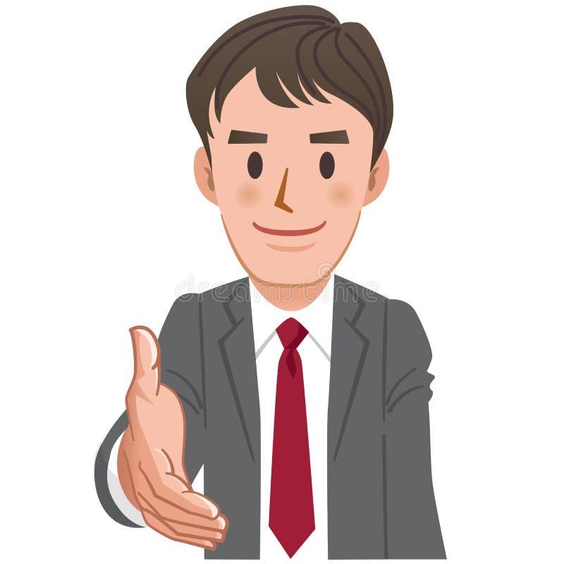 延伸为握手的动画片商人 库存例证