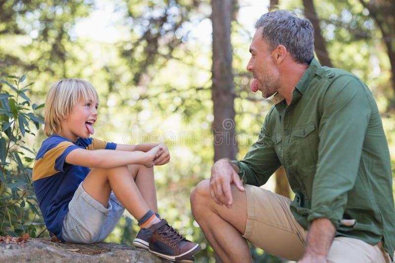 伸出舌头的父亲和儿子,当坐在森林里时 免版税库存照片