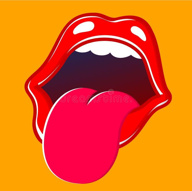伸出舌头的嘴和嘴唇  向量例证