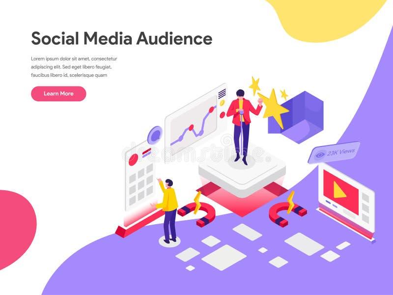 伸手可及的距离社会媒介观众例证概念登陆的页模板  r 向量例证
