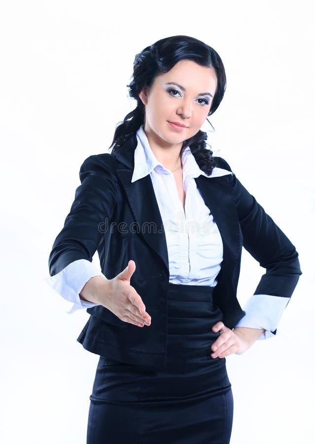 伸握手的女商人手 : 库存照片