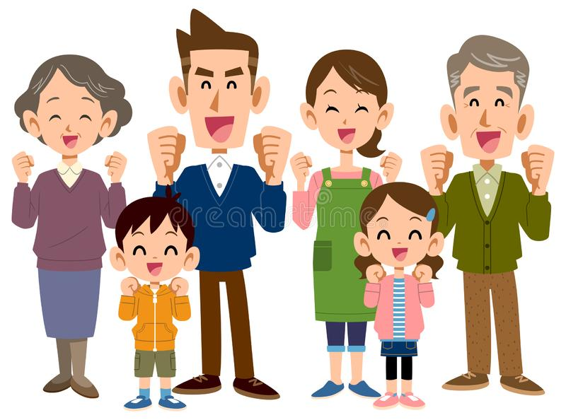 似乎是令人愉快的三世代家庭 向量例证