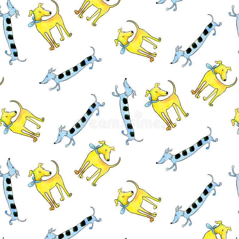 似犬无缝的样式快乐的多彩多姿的水彩 向量例证