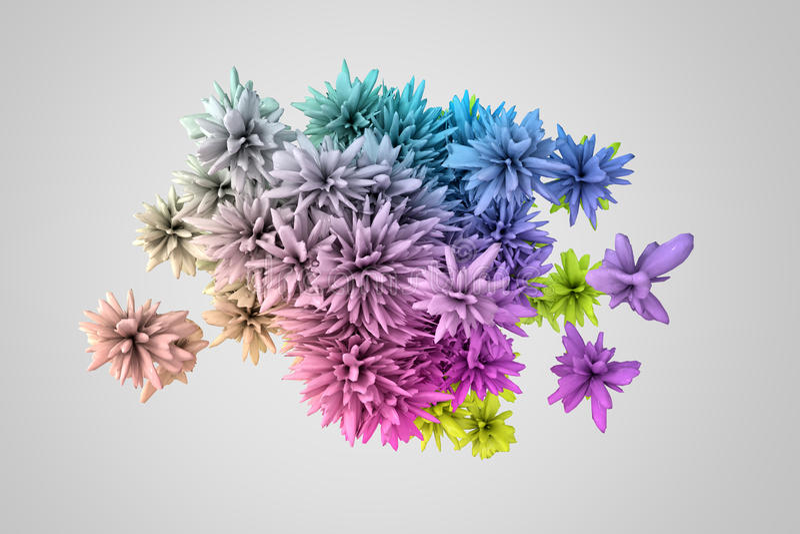 类似花在许多颜色的抽象3d形状 库存例证