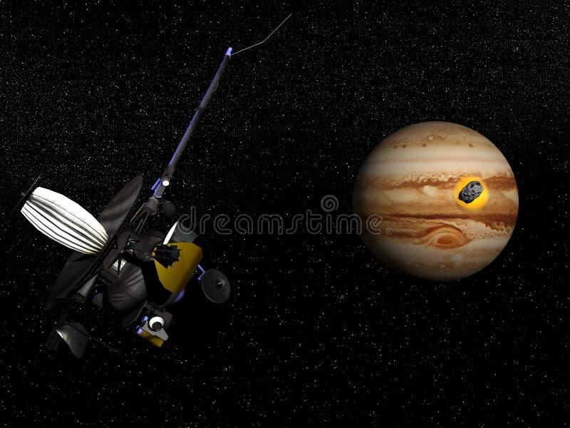 伽利略观察彗星鞋匠征收9失败到木星- 库存例证