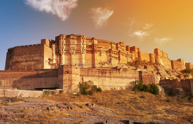 位于乔德普尔城的Mehrangarh堡垒,印度 库存照片