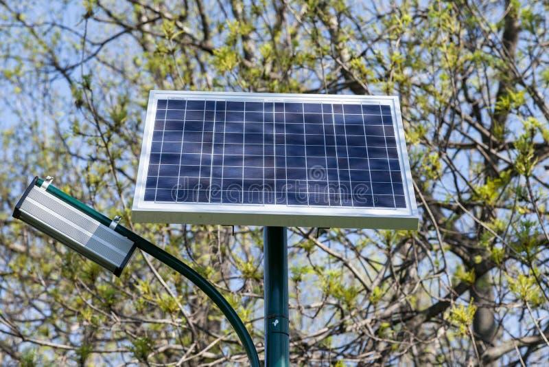 位于公园的公开照明设备生态系统 库存图片