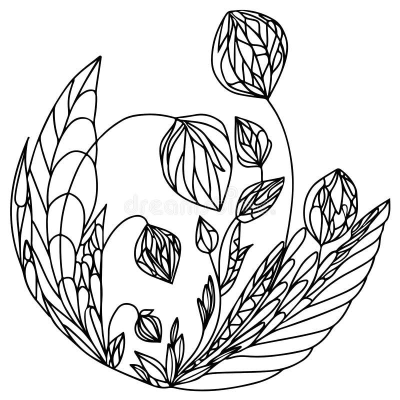 位于半圆的黑线几何抽象植物  库存例证