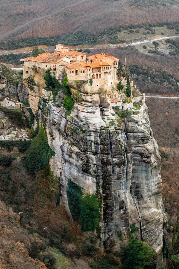 位于巨大的岩石的Varlaam修道院,Kalabaka,飞星,特里卡拉,色萨利 免版税库存图片