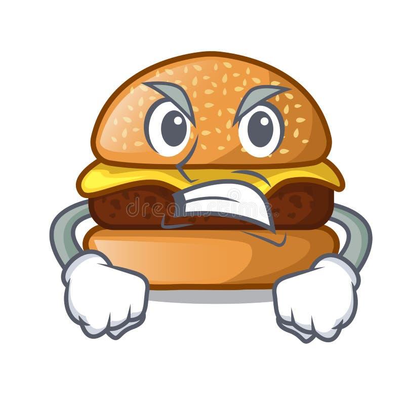 位于板材动画片的恼怒的芝士汉堡 库存例证