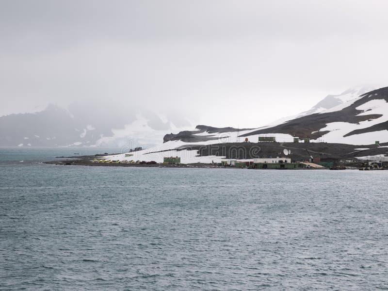 位于海军部海湾的Comandante Ferraz南极驻地,乔治王岛,在南极半岛的一角附近 免版税库存图片