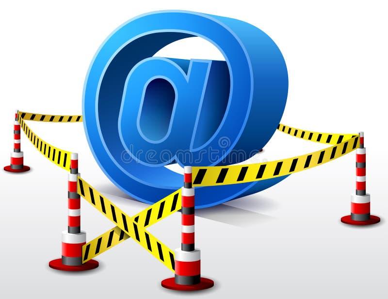 位于禁区的电子邮件标志 皇族释放例证
