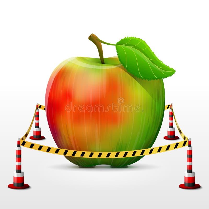 位于禁区的苹果计算机果子 向量例证