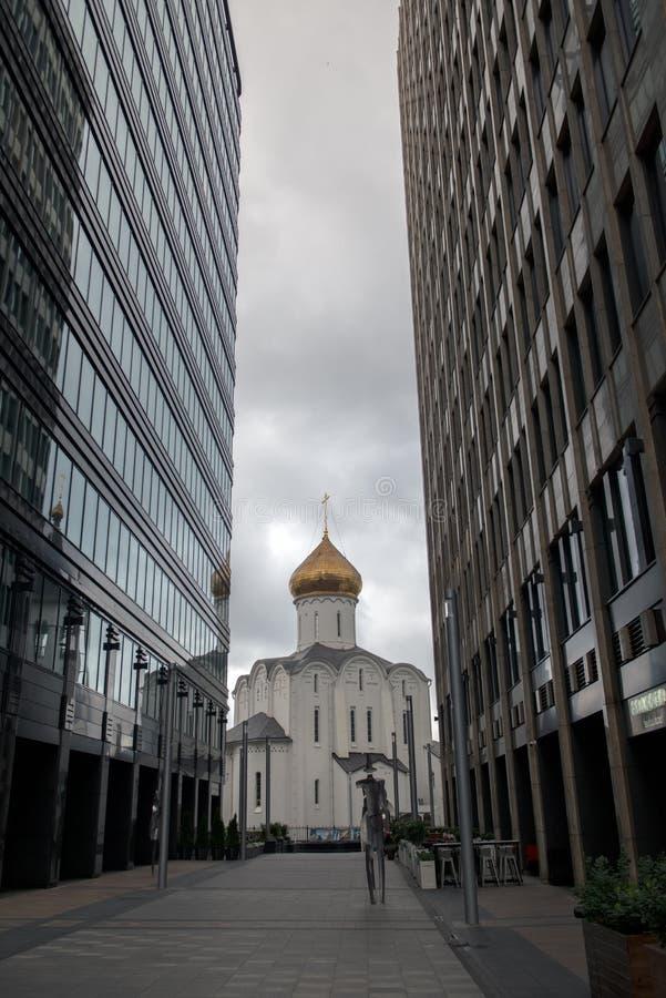 位于莫斯科Tverskaya Zastava广场的神童教堂 库存照片