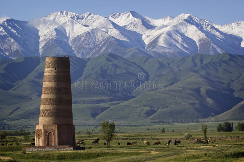 位于著名丝绸之路的古老Burana塔,吉尔吉斯斯坦 免版税库存照片