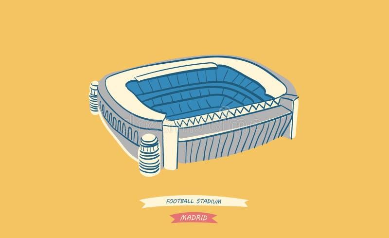 位于马德里的著名西班牙橄榄球场 皇族释放例证