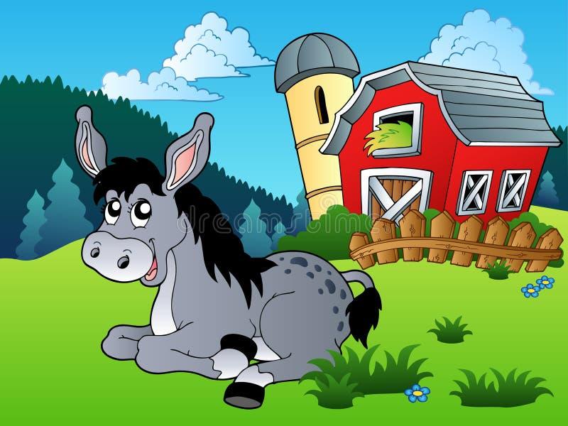 位于驴的农场近 向量例证