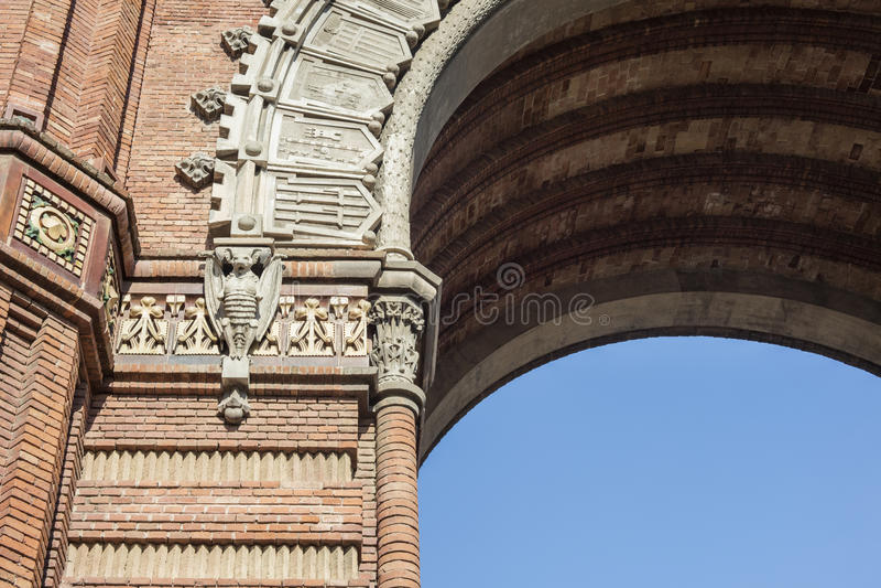 位于巴塞罗那的胜利纪念碑曲拱细节, Catalon 免版税库存照片